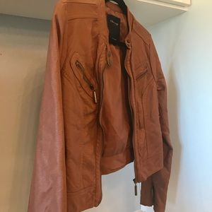 therapy Jackets & Coats - Therapy Faux Cognac Brown Leather fitted jacket